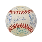 1995 Atlanta Braves World Series Team Signed Baseball (Cox, Maddux, Smoltz, Glavine, Jones, McGriff) (John Hirschbeck LOA)