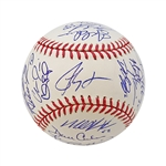 2010 Texas Rangers World Series Team Signed Baseball w/MLB Hologram (Guerrero, Hamilton, Kinsler, Lee, Moreland, Washington)  (John Hirschbeck LOA)
