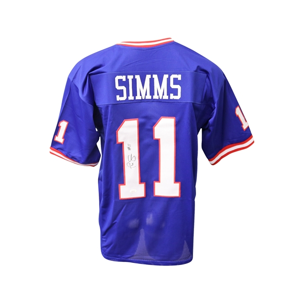 Phil Simms Autographed Replica Giants Blue Football Jersey JSA
