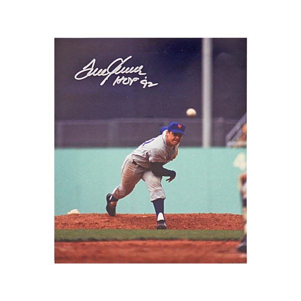 Tom Seaver New York Mets Autographed and Inscribed HOF 92 8X10 Photo (JSA)