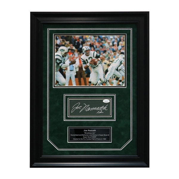"Joe Namath New York Jets Autographed and Framed Chit Collage - 17""x23"" Frame (Steiner Hologram Only)"