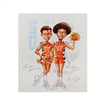Lot of 2 Autographed Louis Orr, Pearl Washington, and Roosevelt Bouie 11x14 Caricature Prints