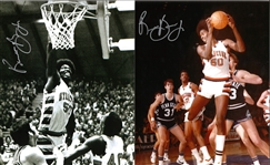 Lot of 7 Syracuse University Basketball 1970s Autographed Roosevelt Bouie, Louis Orr, Danny Schayes, and Marty Headd Photos (six 8x10s and one 16x20)