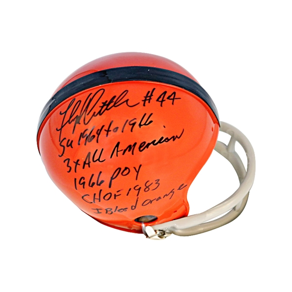 Floyd Little Syracuse University Autographed Mini Helmet with Stat Inscriptions JSA