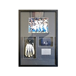 Derek Jeter New York Yankees Autographed Game Used Batting Glove and Wristband Collage (Steiner)
