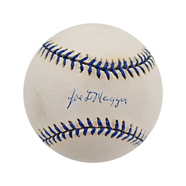 Joe Dimaggio New York Yankees Autographed Logo OAL Baseball (DiMaggio/Grandstand)