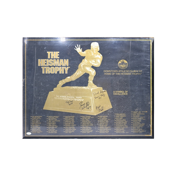 Eddie George, Troy Davis, Tommy Fraizer and Danny Wuerfell Autographed Heisman Memorial Trophy Framed Poster JSA (watermark)