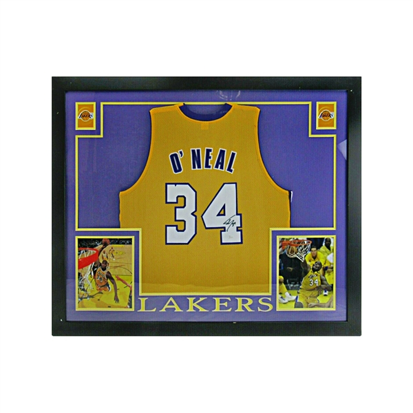 Shaquille ONeal Autographed Los Angeles Lakers 36x44 Framed Jersey (JSA COA)