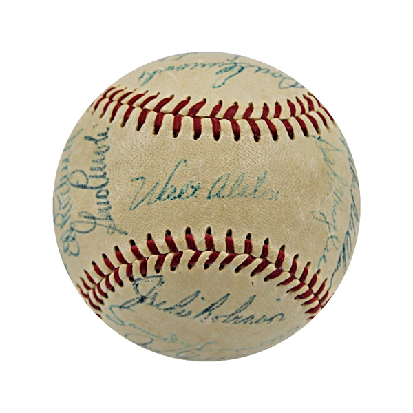 1956 Brooklyn Dodgers Team Signed Vintage Spalding Official National League Baseball (Jackie Robinson) JSA LOA (Clubhouse Signatures Noted Below)