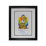 "Mark Rivera Autographed and Inscribed ""Be Brave! Be Strong! With Gratitude...""  Original ""Oliver the Brave"" 18x21 Framed Watercolor Painting (JSA COA)"