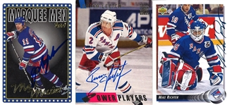 Lot of 3 Autographed Mark Messier, Mark Richter, and Brian Leetch Trading Cards (Brandon Steiner LOA)